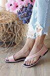 Kadın Pudra Kısa Topuklu Sandalet