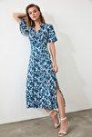 Lacivert Kuşaklı Gömlek Elbise TWOSS19EL0094