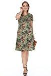 Kadın Haki Yaprak Desenli Esnek Viskon Elbise
