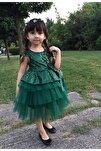 Kız Çocuk Zümrüt Yeşili Payetli Tül Elbise