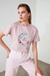 Pudra Nakışlı Basic Örme T-Shirt TWOSS20TS0102