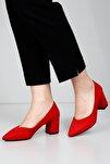 Kırmızı Süet Kadın Klasik Topuklu Ayakkabı 38918