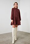 Bordo Geniş Kesim Fırfırlı Elbise TWOAW20EL1506