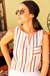 Kadın Kırmızı Renkli Çizgili Cepli Kolsuz Gömlek Arm-19Y001062
