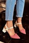 Kadın Mila Beyaz Kırmızı Ekose Topuklu Ayakkabı