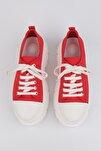Kadın Sneaker Dolgu Topuk Spor Ayakkabı Ateznakırmızı
