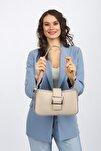 Aynı Butikte 2. Ürün 1 TL Krem Kadın Kemerli Baguette Omuz Çantası