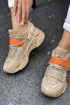 Kadın Nude Cırtlı Sneakers