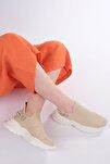 Kadın Bej Sneaker Dolgu Topuk Çorap Spor Ayakkabı Dizva