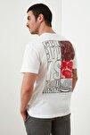 Beyaz Erkek Geniş Kesim Fit Sırt Baskılı T-Shirt TMNSS20TS0656