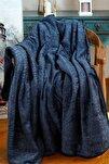 Lacivert Embos Etnik Desen Çift Kişilik Battaniye 220x240cm