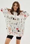 Kadın Beyaz Baskılı Oversize Sweatshirt Elbise P20w-4127