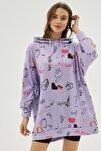Kadın Mor Baskılı Oversize Sweatshirt Elbise P20w-4127