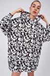 Kadın Baskılı Oversize Sweatshirt Elbise P20w-4127