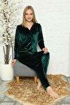 Kadın Yeşil Kadife Düğmeli Pijama Takımı