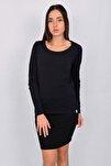 Pamuk Uzun Kollu Kadın T-shirt Lacivert