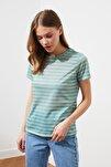 Mint Çizgili Basic Örme T-Shirt TWOSS21TS0904