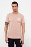 Pembe Erkek Slim Fit Bisiklet Yaka Kısa Kollu Baskılı T-Shirt TMNSS20TS0080