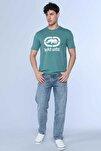 Erkek Yeşil Logo Tee Koyu Bisiklet Yaka Tshirt