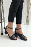 Kadın Siyah Madrid  Topuklu Sandalet