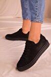 Siyah Süet Kadın Sneaker 14395