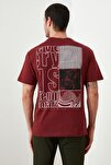 Bordo Erkek Geniş Kesim Fit Sırt Baskılı T-Shirt TMNSS20TS0656