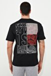 Siyah Erkek Geniş Kesim Fit Sırt Baskılı T-Shirt TMNSS20TS0656