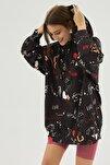 Kadın Siyah Baskılı Oversize Sweatshirt Elbise P20w-4127