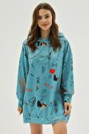 Kadın Yeşil Baskılı Oversize Sweatshirt Elbise P20w-4127