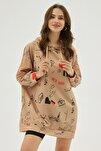 Kadın Bej Baskılı Oversize Sweatshirt Elbise P20w-4127