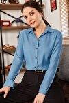 Kadın Buzmavi Uzun Kollu Düz Gömlek ARM-18Y001176