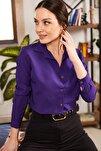 Kadın Mor Uzun Kollu Düz Gömlek ARM-18Y001176