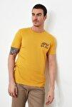 Hardal Erkek Slim Fit Bisiklet Yaka Kısa Kollu Baskılı T-Shirt TMNSS20TS0080