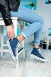 Günlük Keten Mavi Spor Ayakkabı Bilekli Erkek Kadın 6 Renk