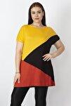 Kadın Sarı Renk Kombinli Viskon Tunik 65N22938