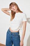 Ekru Büzgülü Basic Örme T-Shirt TWOSS21TS0131