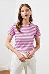 Pembe Çizgili Basic Örme T-Shirt TWOSS21TS0904