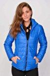 Kadın Mavi Kapüşonlu Şişme Mont