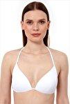 Kadın Beyaz Üçgen Pushup Bikini Üstü 63518