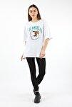 Kadın Beyaz Los Angeles Baskılı T-Shirt