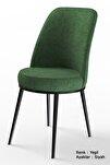 Dexa Serisi Haki Yeşil Renk Sandalye Mutfak Sandalyesi, Yemek Sandalyesi Ayaklar Siyah
