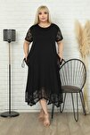 Etek Ucu, Kolları Ve Cepleri Dantel Detaylı Kısa Kollu Elbise