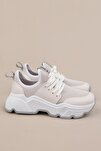 Kadın Beyaz Sneaker Dolgu Topuk Spor Ayakkabı Farida
