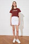 Kahverengi Baskılı Basic Örme T-Shirt TWOSS20TS0267