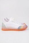 Kadın Beyaz Streç Sneaker Spor Ayakkabı Cunka