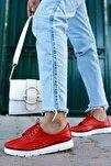 Hakiki Deri Kırmızı Kadın Deri Babet Ars-0768