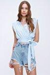 Kadın Mavi Beli Bağlamalı Kruvaze Bluz ALC-X5884