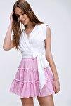 Kadın Beyaz Beli Bağlamalı Kruvaze Bluz ALC-X5884