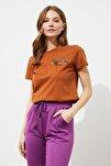 Tarçın Nakışlı Basic Örme T-Shirt TWOSS20TS0103