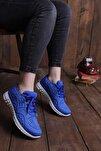 Kadın Mavi Bağcıklı  Sneaker Ayakkabı